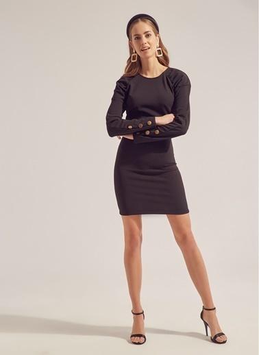 Monamoda Kolları Metal Düğmeli Elbise Siyah